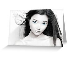 Cute anime girl with big blue eyes artistic portrait art photo print Greeting Card