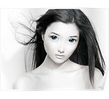 Cute anime girl with big blue eyes artistic portrait art photo print Poster