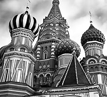 St Basils Cathedral in Moscow Russia Black and white art photo print by ArtNudePhotos