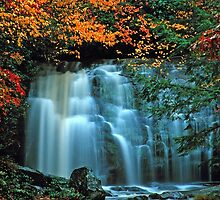 MEIGS FALLS, AUTUMN,  by Chuck Wickham