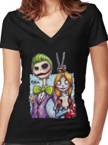 Nightmare In Gotham Women's Fitted V-Neck T-Shirt