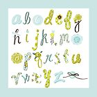 Baby Blue Alphabet Pillow & Duvet by Vickie Emms