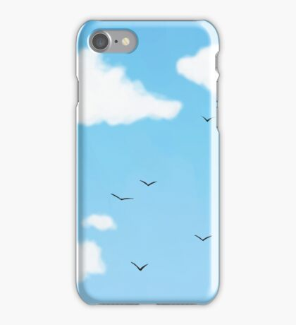 Blue Sky with Birds and Clouds iPhone Case/Skin