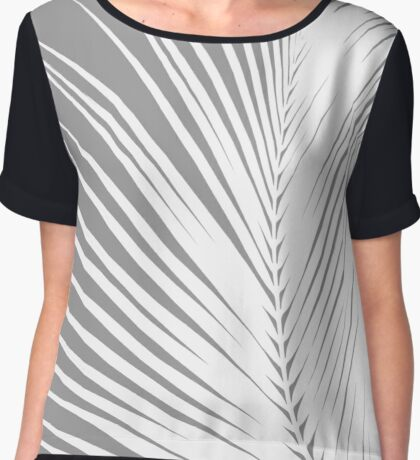 Palm Leaf, Grey / Gray and White Chiffon Top