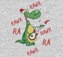 Singing Christmas Dinosauar One Piece - Short Sleeve