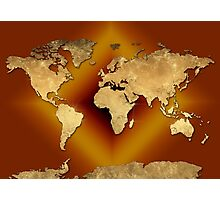 world map gold 3 Photographic Print