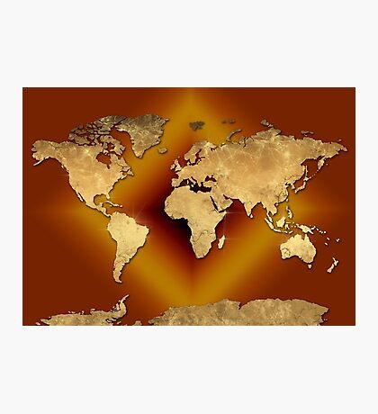 world map gold 3 Photographic Print