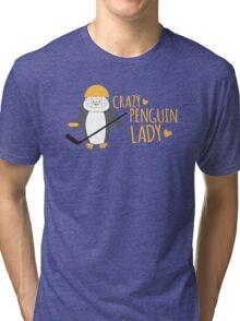 Crazy (ICE HOCKEY) Penguin Lady Tri-blend T-Shirt