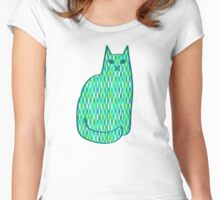 Mid-Century Modern Cat, Mint and Lime Green Women's Fitted Scoop T-Shirt