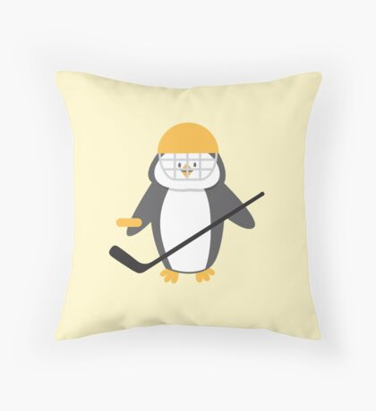 Ice hockey penguin Throw Pillow