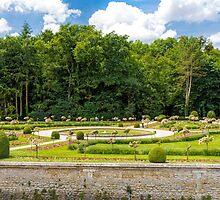Garden of Diane de Poitiers, Chateau de Chenonceaux, Loire Valley, France by Elaine Teague