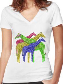 Giraffes of color  Women's Fitted V-Neck T-Shirt