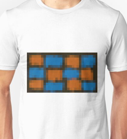 orange and blue pixel abstract with black background Unisex T-Shirt