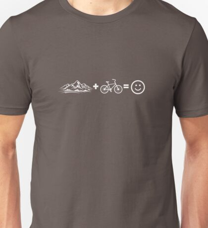 Mountain Biking Equals Happiness Happy Smiling  Unisex T-Shirt