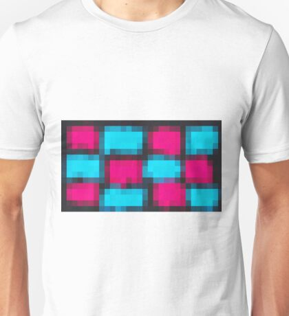pink and blue pixel abstract with black background Unisex T-Shirt