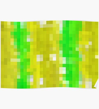 green white and yellow pixel abstract background Poster