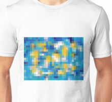 blue white and yellow pixel abstract background Unisex T-Shirt