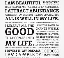 Positive Affirmations (Black on White/Grey) by worldpeas