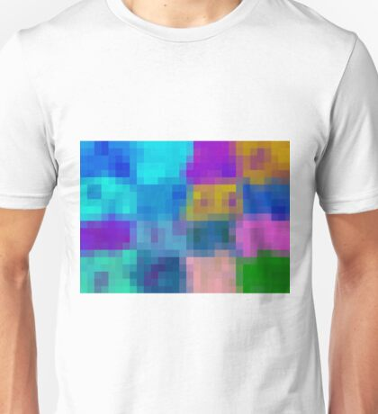 blue pink purple green and brown pixel abstract background Unisex T-Shirt