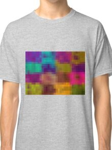 blue purple yellow green pixel abstract background Classic T-Shirt