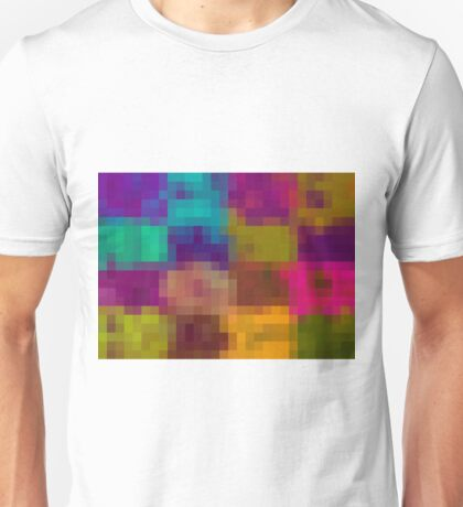 blue purple yellow green pixel abstract background Unisex T-Shirt