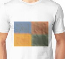 blue brown yellow and green pixel abstract background Unisex T-Shirt
