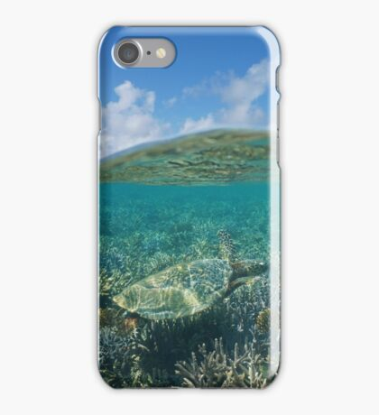 Above and below water sea turtle and coral reef iPhone Case/Skin