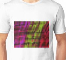 green red and purple pixel abstract with black background Unisex T-Shirt