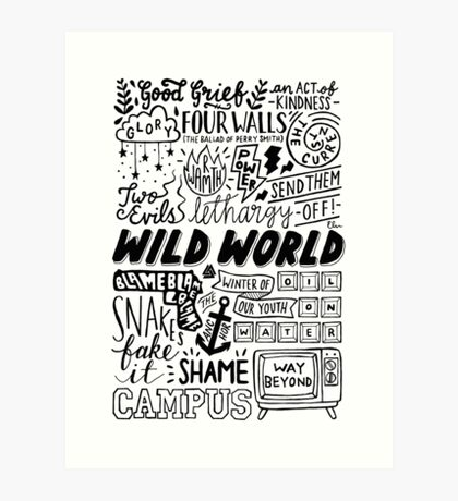 WILD WORLD - SONG TITLES (LIGHT) Art Print
