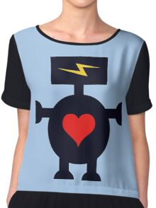 Cute Heart Robot Chiffon Top