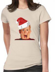 Home Alone Santa Hat T-Shirt: Macaulay Culkin Christmas Holiday Womens Fitted T-Shirt
