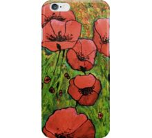 Red Poppies in field iPhone Case/Skin