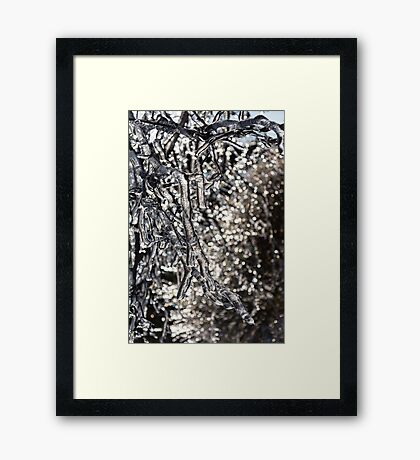 Christmas Decorations by Mother Nature - Encapsulated Branches and Brilliant Bokeh Framed Print