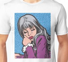 Silver Hair Crying Comic Girl Unisex T-Shirt