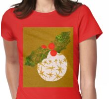 Xmas Bauble with Holly Collage Womens Fitted T-Shirt
