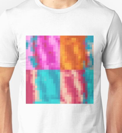 red pink orange and blue pixel abstract background Unisex T-Shirt