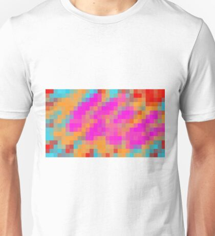 pink blue orange and red pixel abstract background Unisex T-Shirt