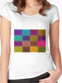 pink blue purple orange and green pixel abstract background Women's Fitted Scoop T-Shirt