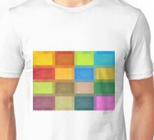 colorful square pixel abstract background in red blue orange pink purple and green Unisex T-Shirt