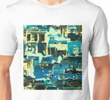 blue yellow green and dark blue painting abstract background Unisex T-Shirt