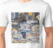 blue yellow grey and brown painting abstract background Unisex T-Shirt