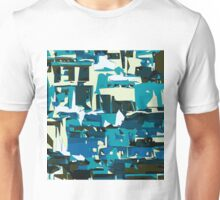 green blue yellow and dark blue painting abstract background Unisex T-Shirt