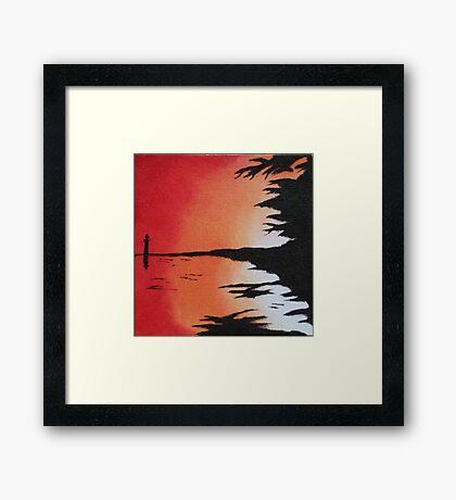 Abstract Shoreline Sunset Framed Print