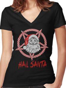 Hail Santa Gift christmas shirt Women's Fitted V-Neck T-Shirt