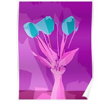 green flowers with pink leaves and purple background Poster
