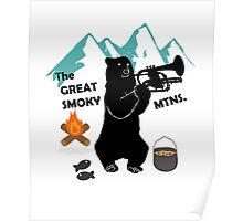 The Great Smoky Mountains Smokey Bluegrass Bear black Poster