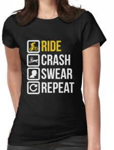 Bicycle - Ride Crash Swear Repeat Womens Fitted T-Shirt