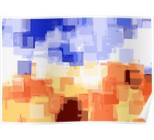 blue white and brown square abstract background Poster