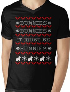 Bunnies Ugly Christmas Sweater (Buffy) Mens V-Neck T-Shirt