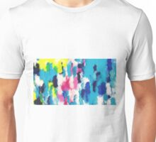 blue pink yellow and black painting texture abstract background Unisex T-Shirt